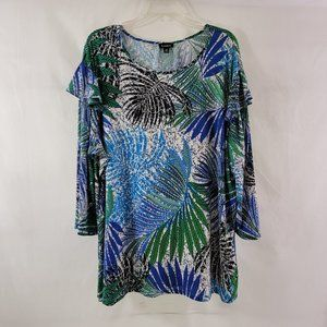 Links Crew Neck Palm Print Pullover Blouse Top 2X